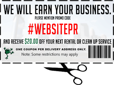 Coupon for $20 off your next dumpster rental or clean up service